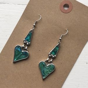 1990's abalone Mexican heart dangle green earrings
